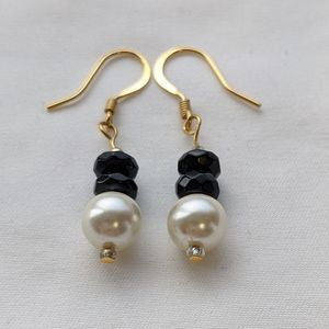 Black and White Faux Pearl Earrings